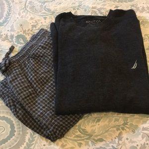 Nautica men's pajama set grey size medium